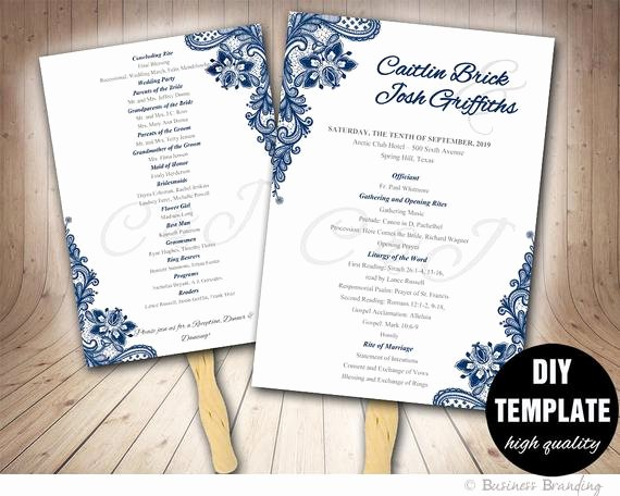 Blue Wedding Programs Fan Template Diy Instant