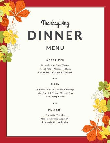 Blue Yellow Illustrated Leaves Thanksgiving Menu