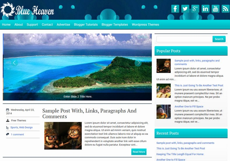 Blueheaven Blogger Template • Templates 2017