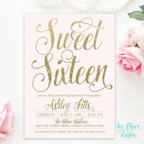 Blush Pink & Gold Glitter Girl Sweet Sixteen 16th Birthday