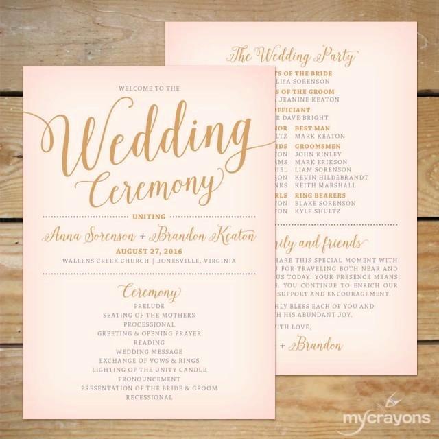 Blush Pink and Gold Wedding Program Fan Printable