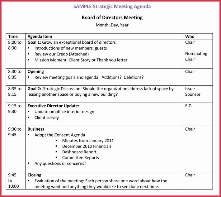 Board Meeting Agenda Template 10 Free Samples formats