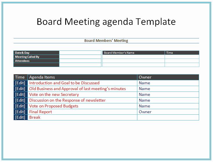 Board Meeting Agenda Template Easy Agendas