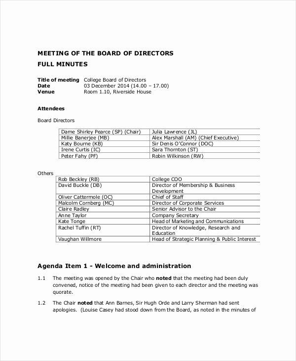 board of directors meeting agenda