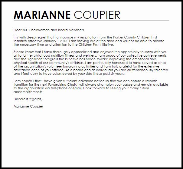 Board Resignation Letter Resignation Letters