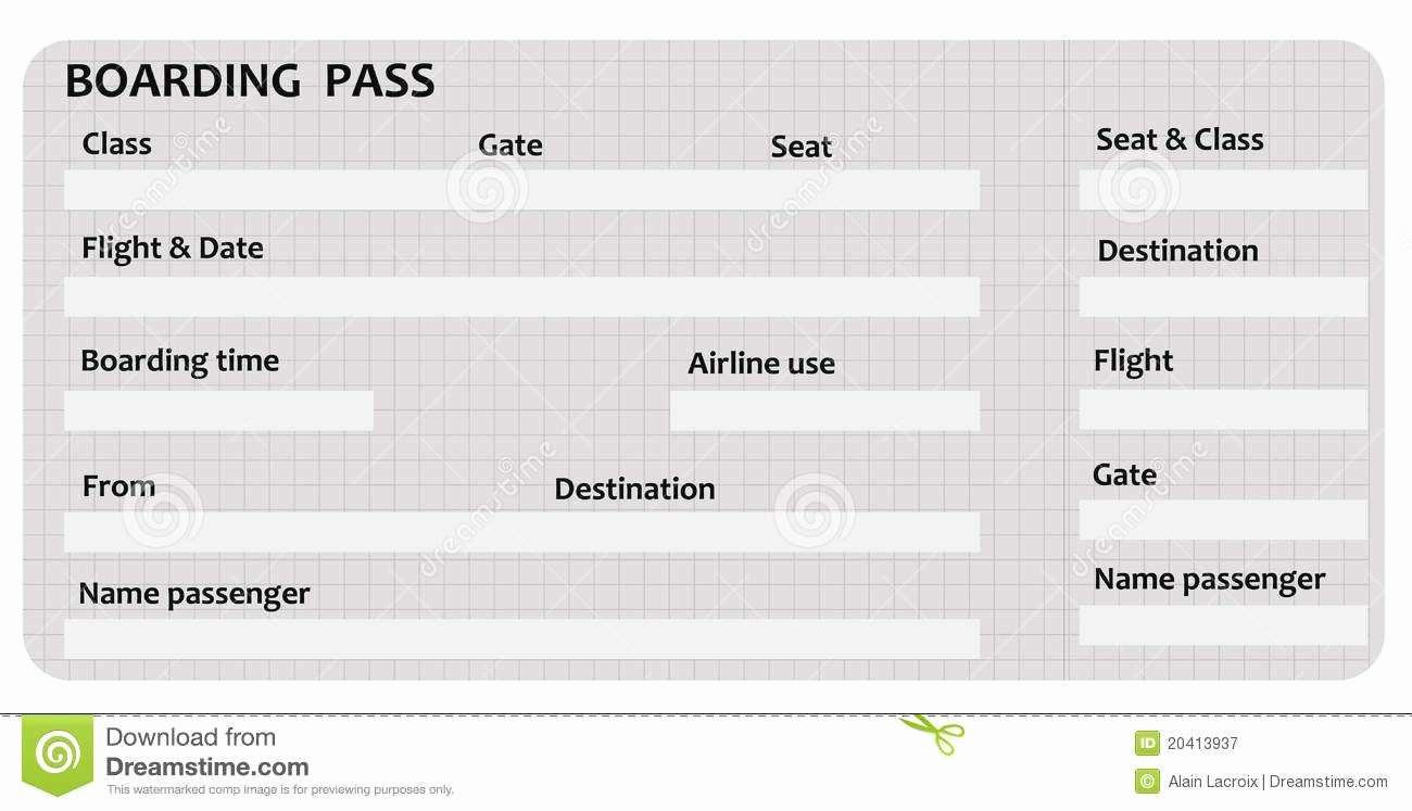 Boarding Pass Template for Word Choice Image Template