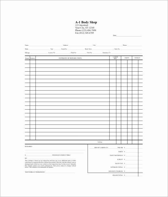 Body Shop Estimate Template Templates Resume Examples