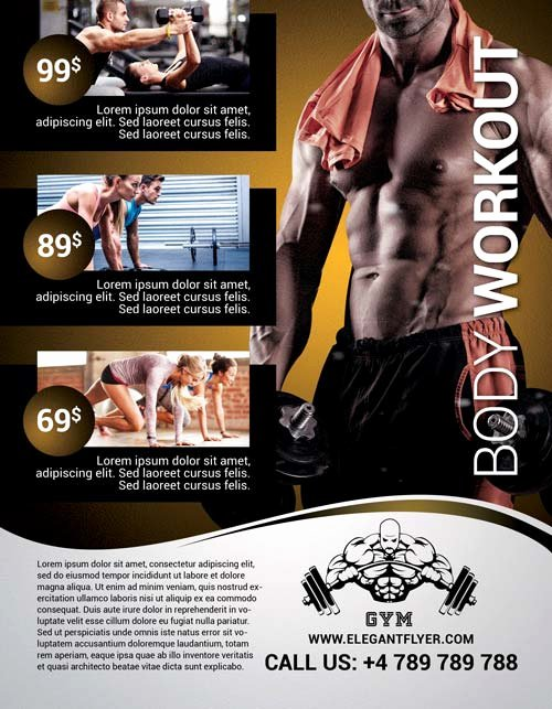 Body Workout Free Flyer Template Download Club and Party