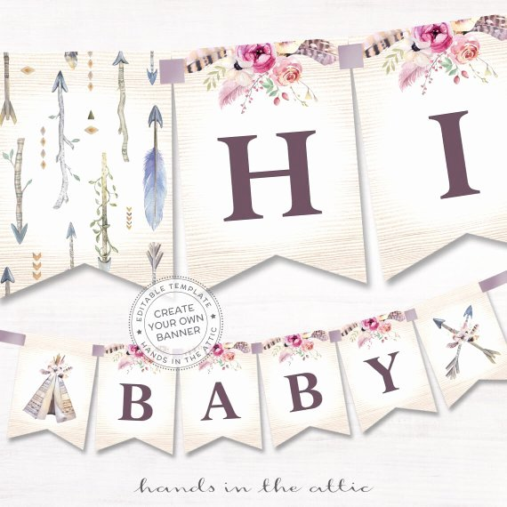 Boho Alphabet Banner Printable Baby Shower Decor Bohemian