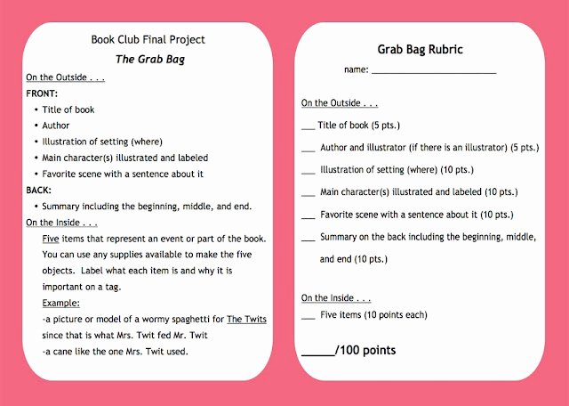 Book Club Rubric Adventures Of A Third Grade Teacher