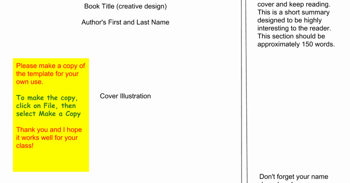 Book Jacket Template Google Slides