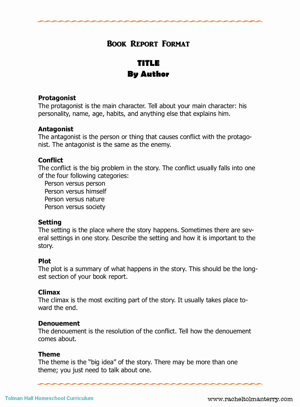 Book Report format