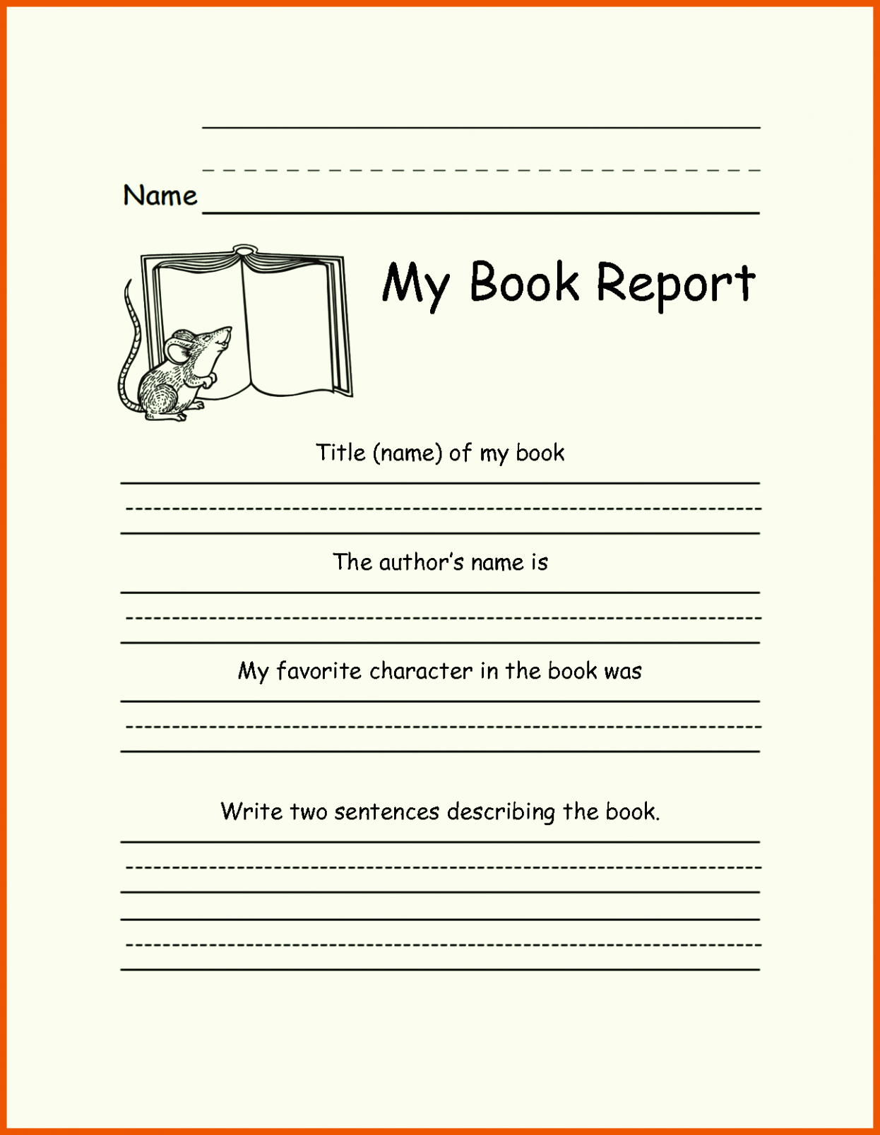 Book Report Template 1st to 5th Grade