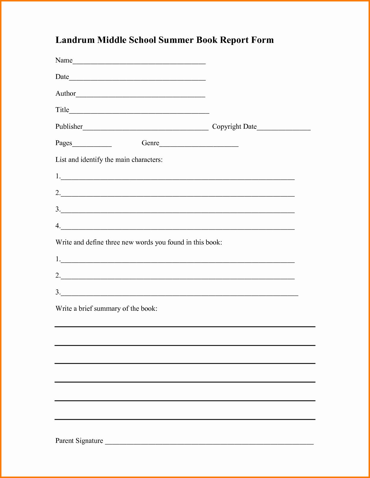 Book Review form Middle School Book Report Worksheets