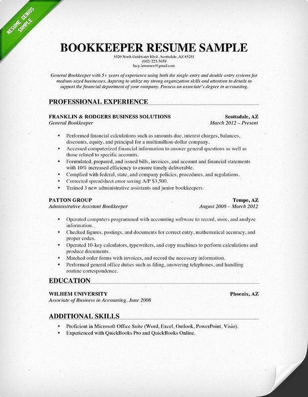 Bookkeeper Resume Sample Projects to Try
