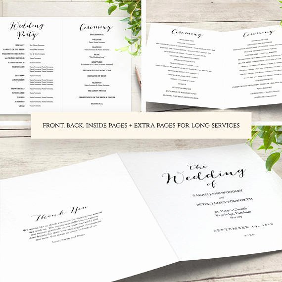 booklet wedding program template church