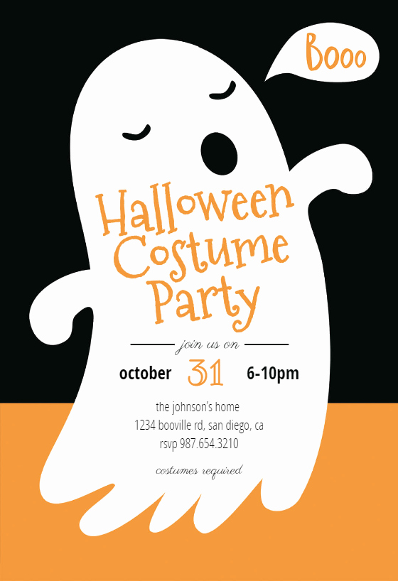 Boos Free Halloween Party Invitation Template