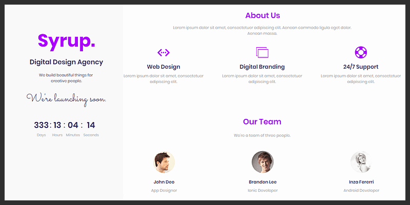 "Bootstrap 4 "" Ing soon"" Landing Page"