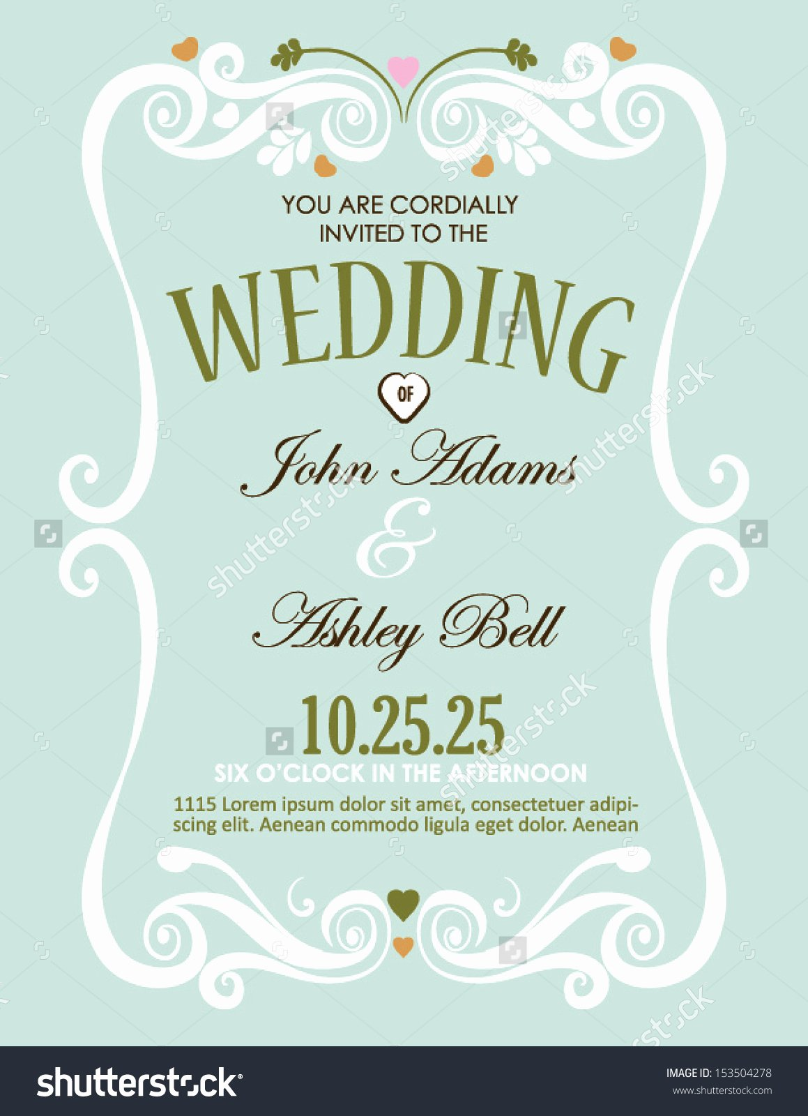Border Magnificent Wedding Invitation Card Design Stock