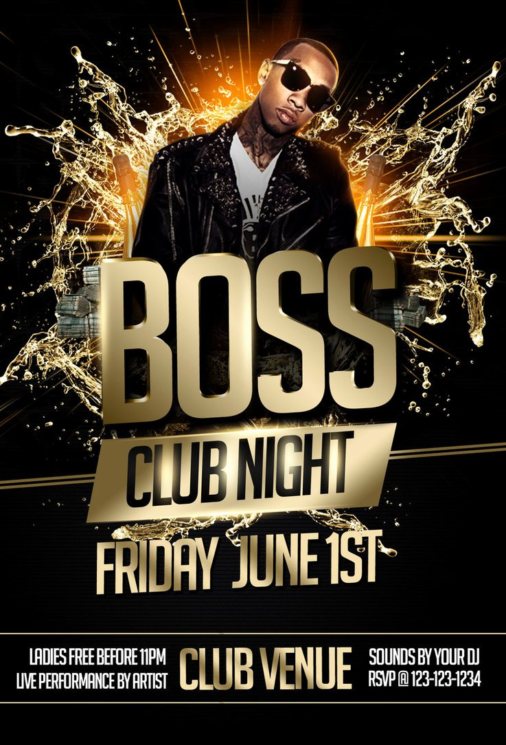 Boss Night Party Flyer Template Black by Imperialflyers On