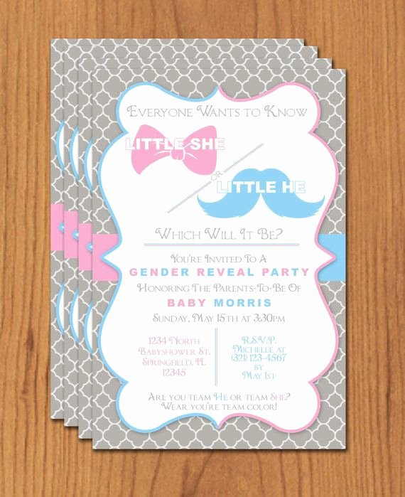 Bow and Mustache Gender Reveal Editable Template