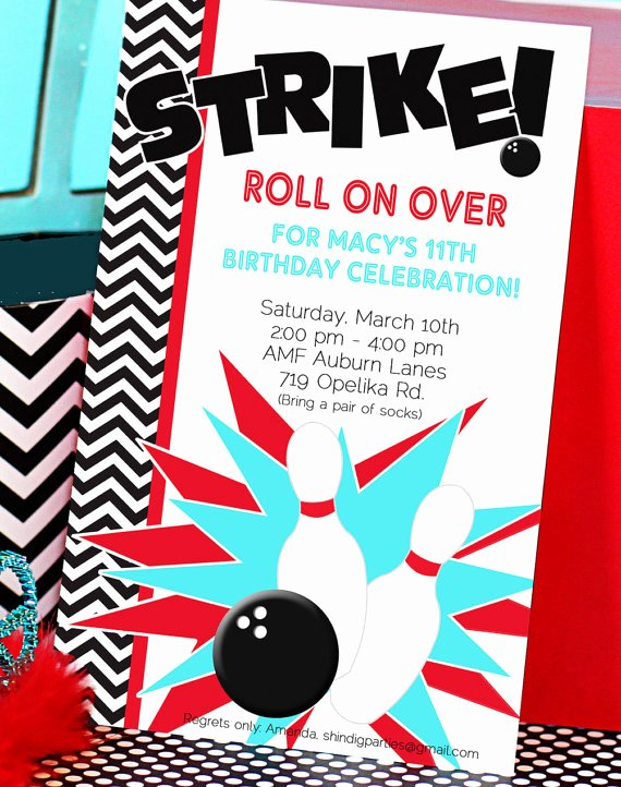 Bowling Birthday Invitations Template