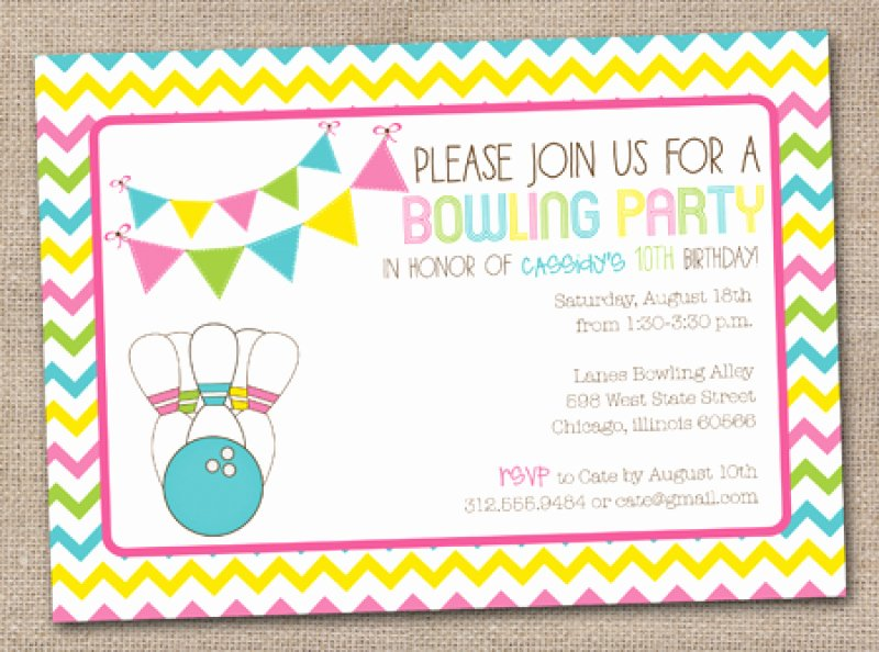 bowling birthday party invitation free printable