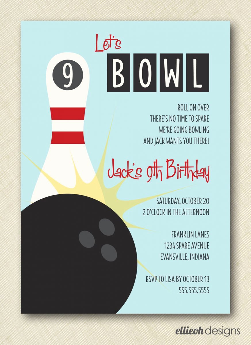 Bowling Birthday Party Invitations Free Templates