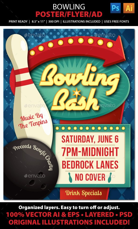 Bowling event Poster Flyer Ad Shop Psd V Free