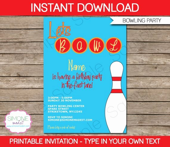 Bowling Invitation Template Birthday Party Instant