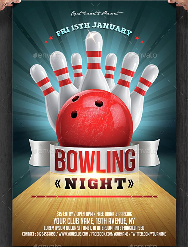Bowling Night Flyer Template Free Templates Resume