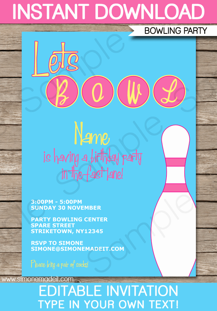 Bowling Party Invitation Template Pink