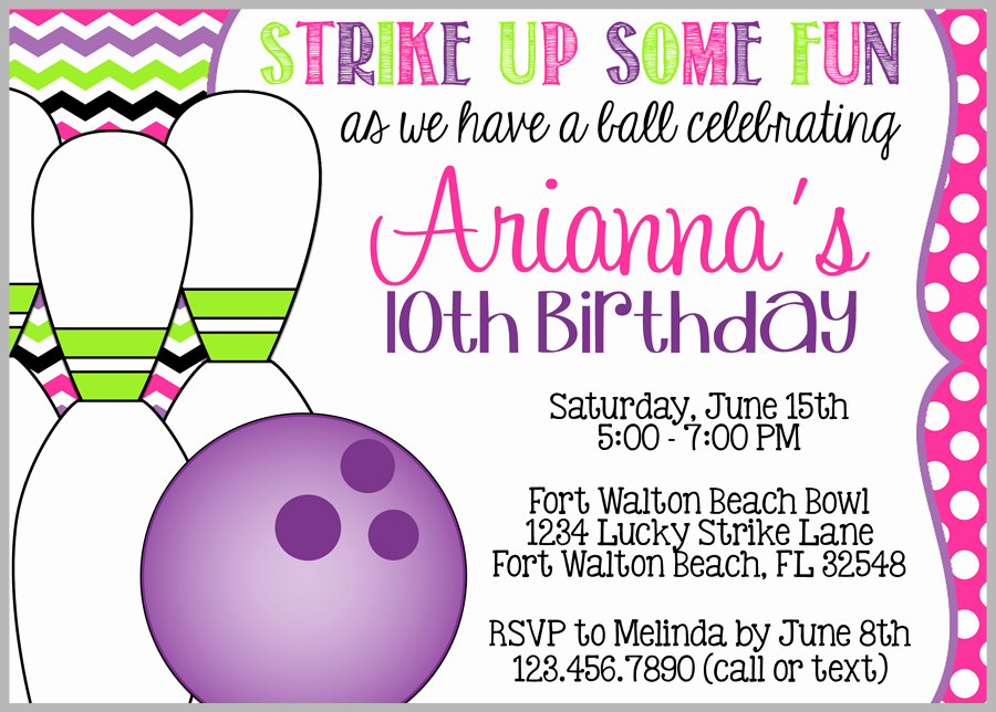 Bowling Party Invitations Free Download Newest