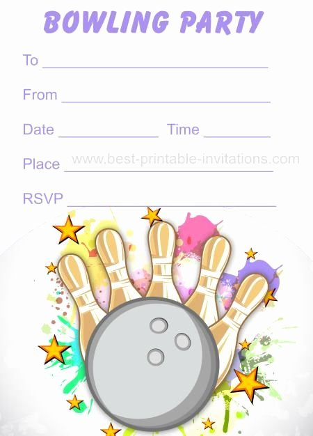 Bowling Party Invitations Free Printable Kids Birthday