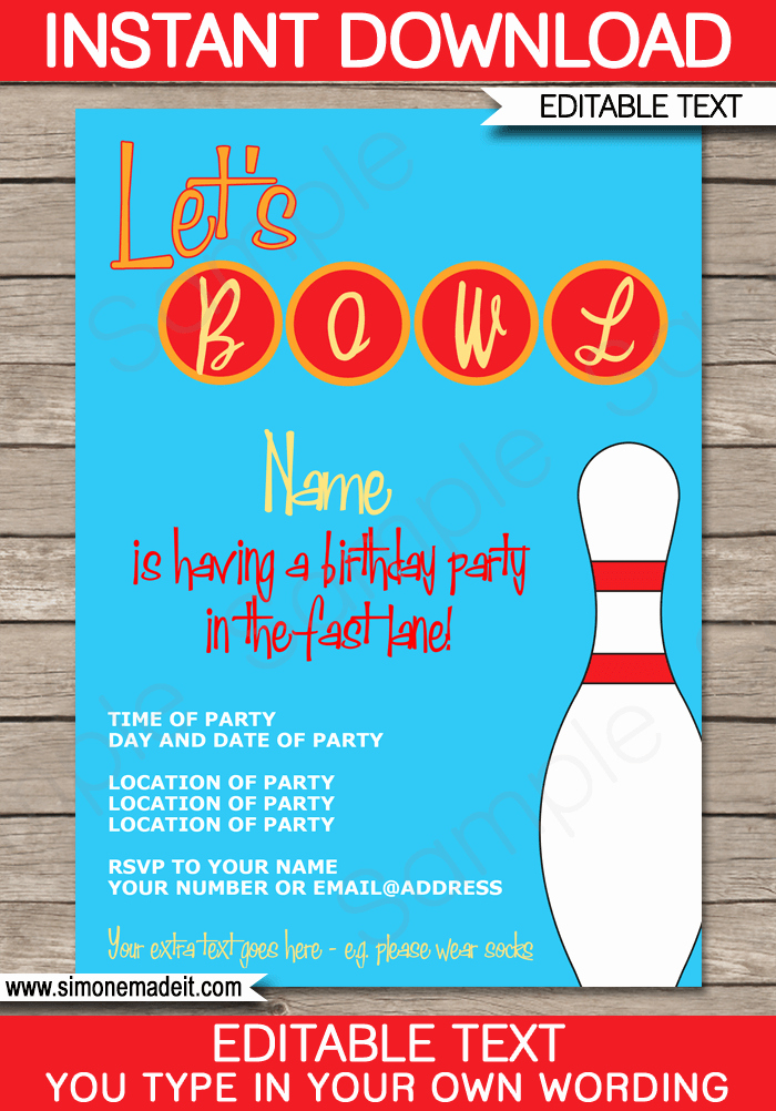 Bowling Party Invitations Template