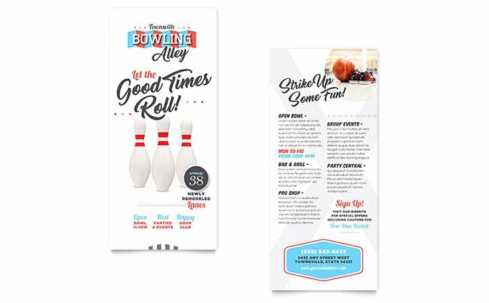Bowling Rack Card Template Design