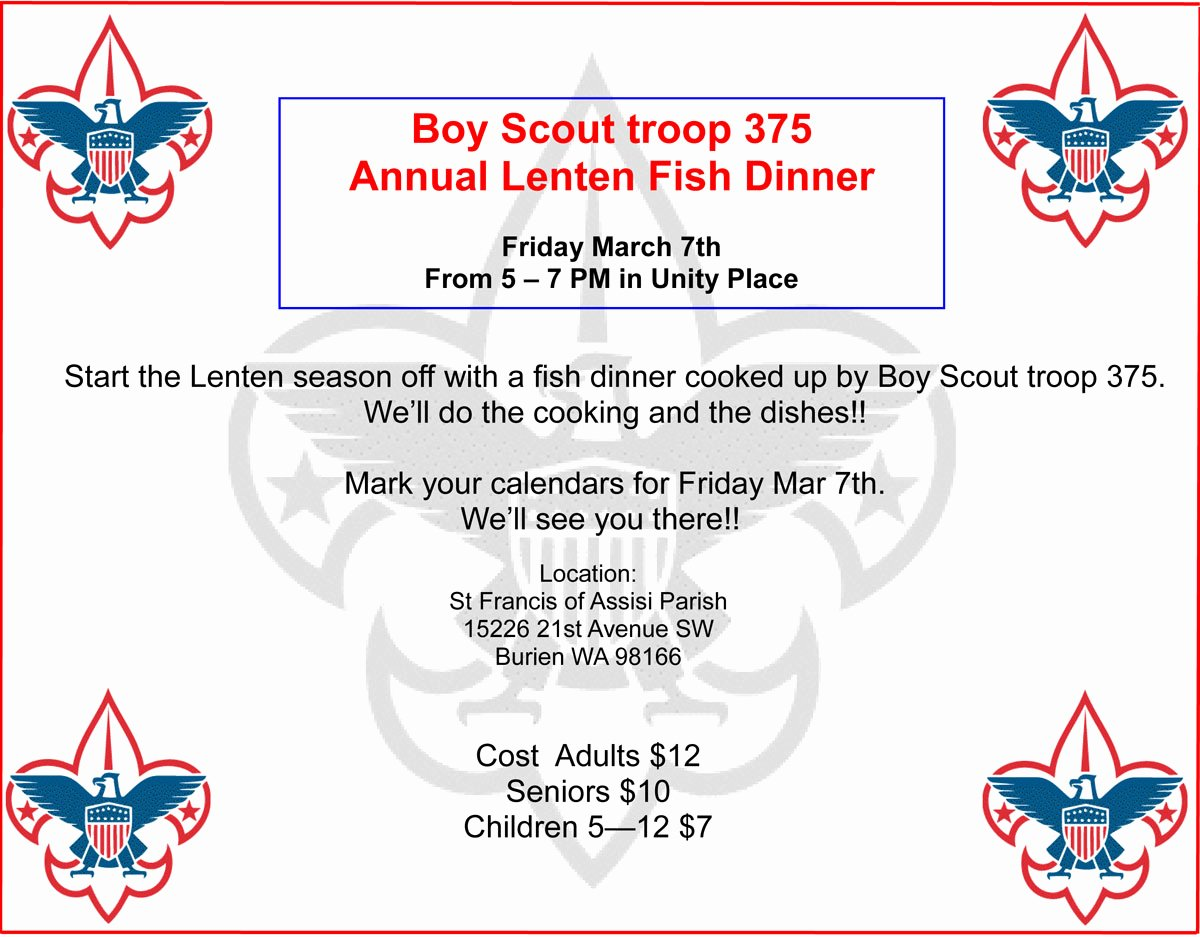 Boy Scout Troop 375 Holding Annual Lenten Fish Dinner On