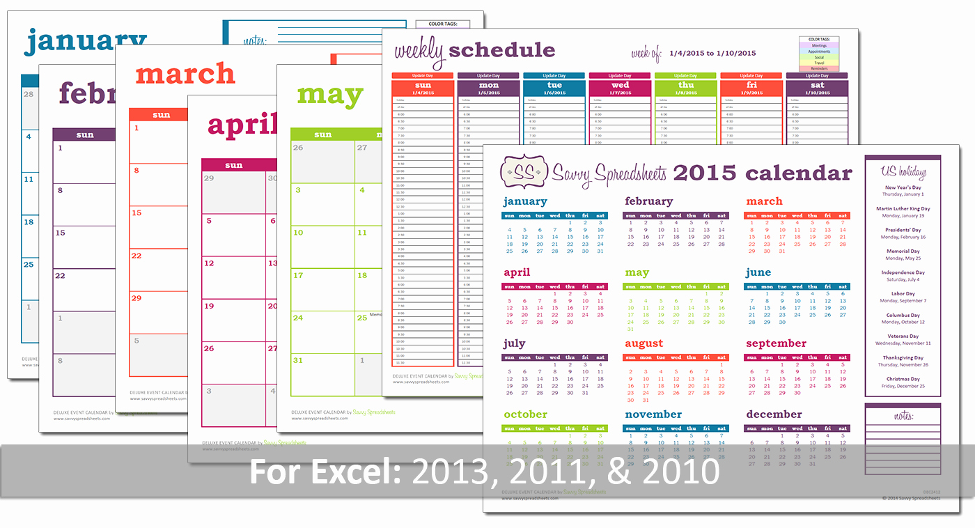 Branded Monthly Calendars Savvy Spreadsheets