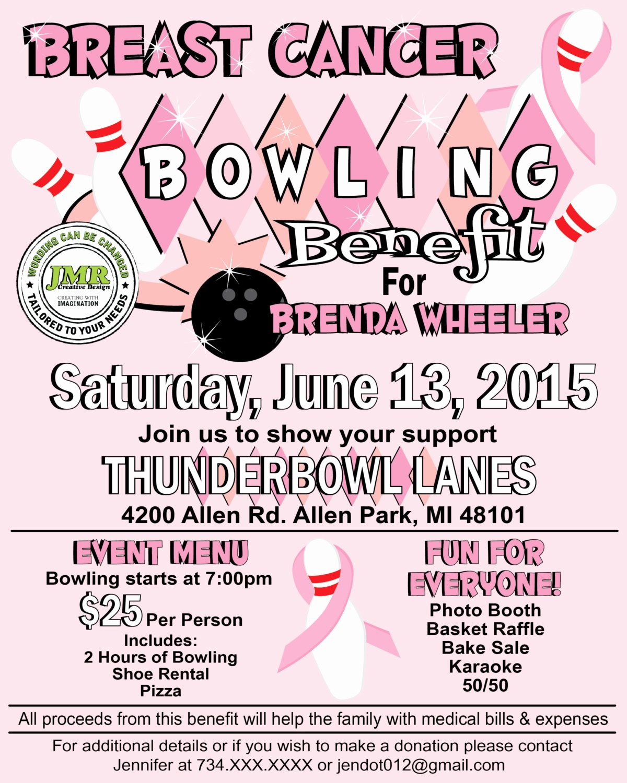 Breast Cancer Bowling Benefit Flyer Fundraiser Flyer Strike