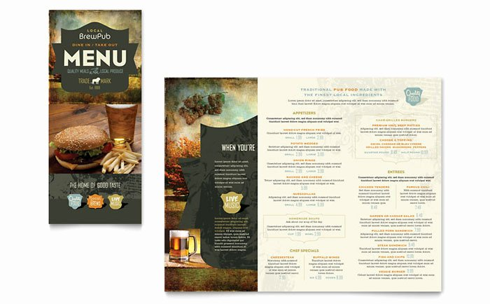 Brewery & Brew Pub Take Out Brochure Template Design