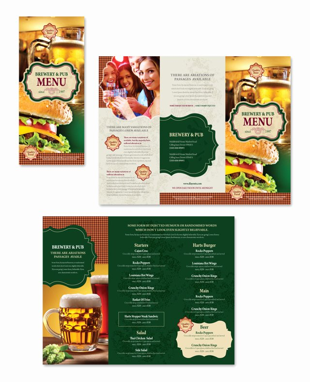 Brewery & Pub Take Out Menu Template Dlayouts Graphic