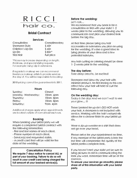 Bridal Hair and Makeup Contract Mugeek Vidalondon