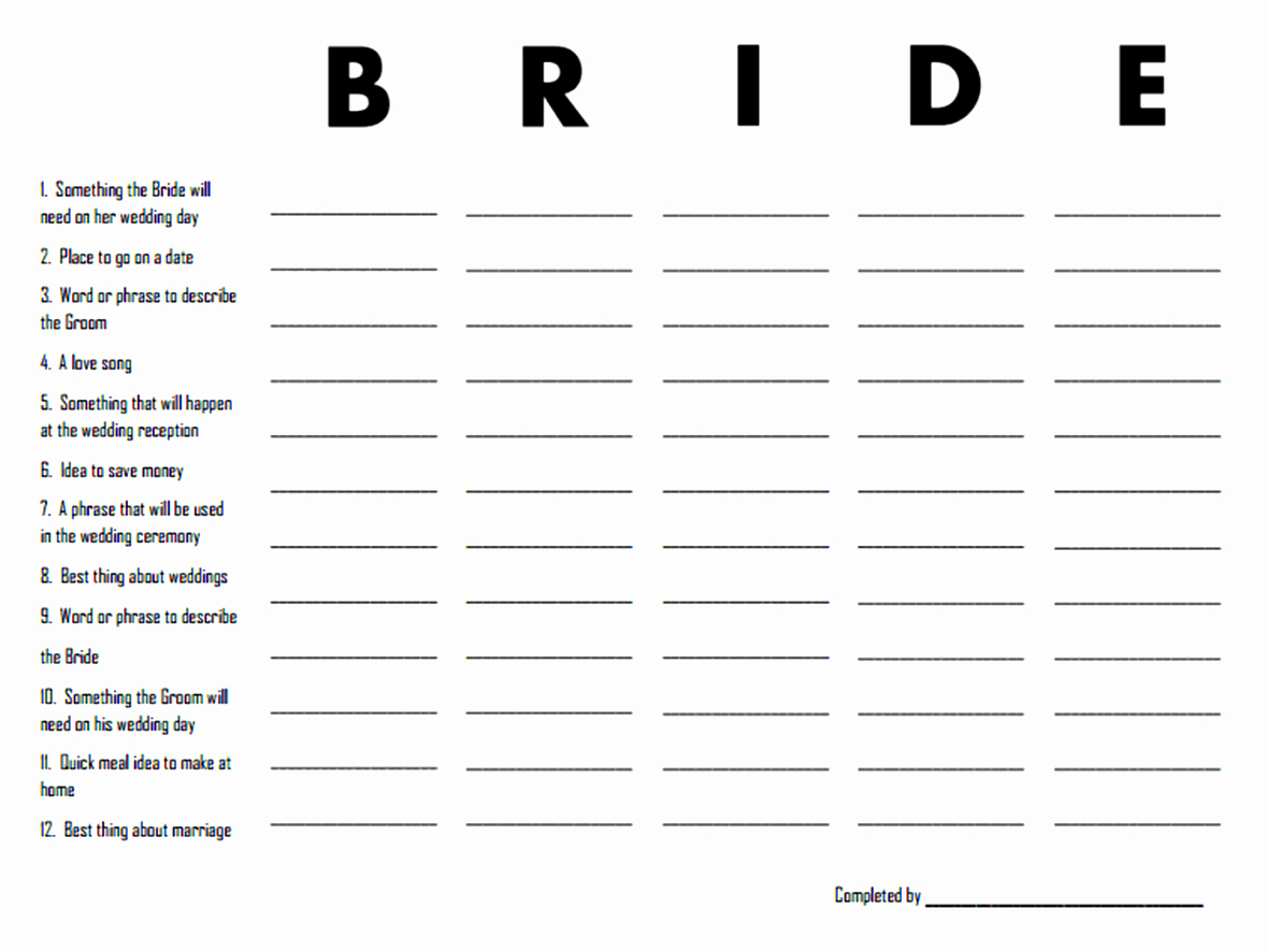 Bridal Party List Template Certificate Layout Template