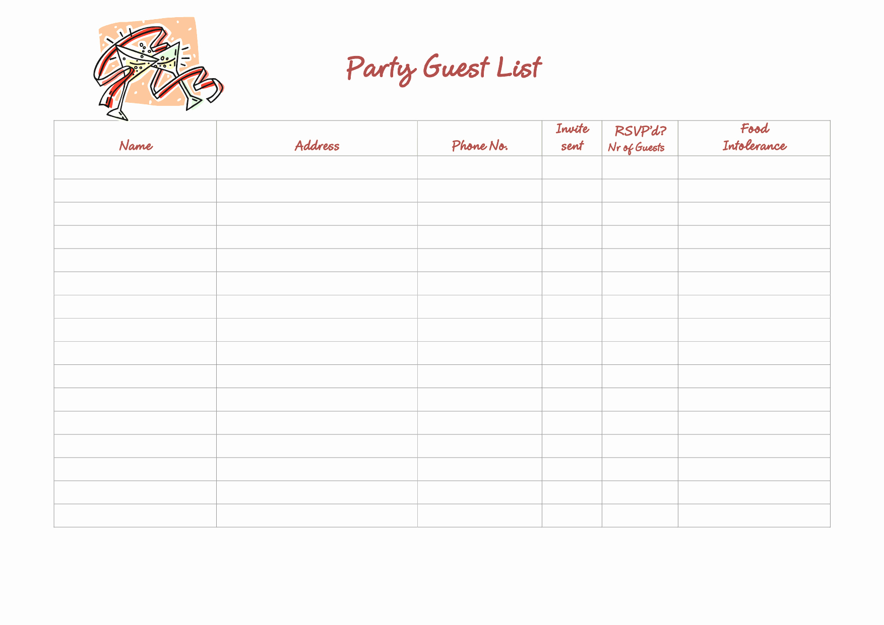 Bridal Party List Template Mughals