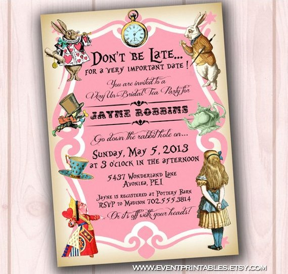 Bridal Shower Invitations Free Alice In Wonderland Bridal