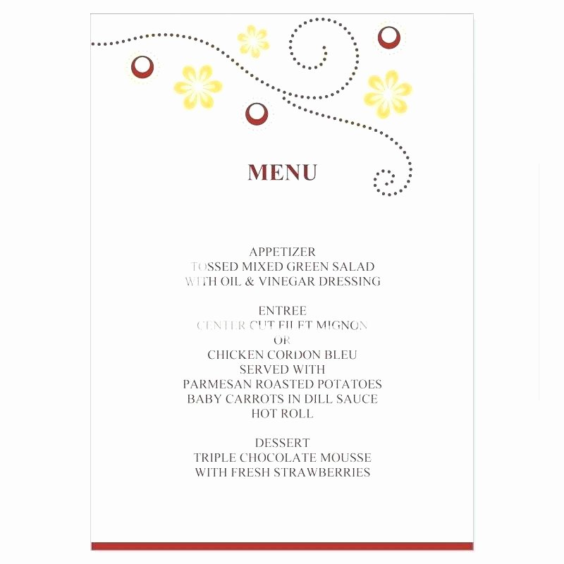 Bridal Shower Menu Full Size Printable Templates Plus