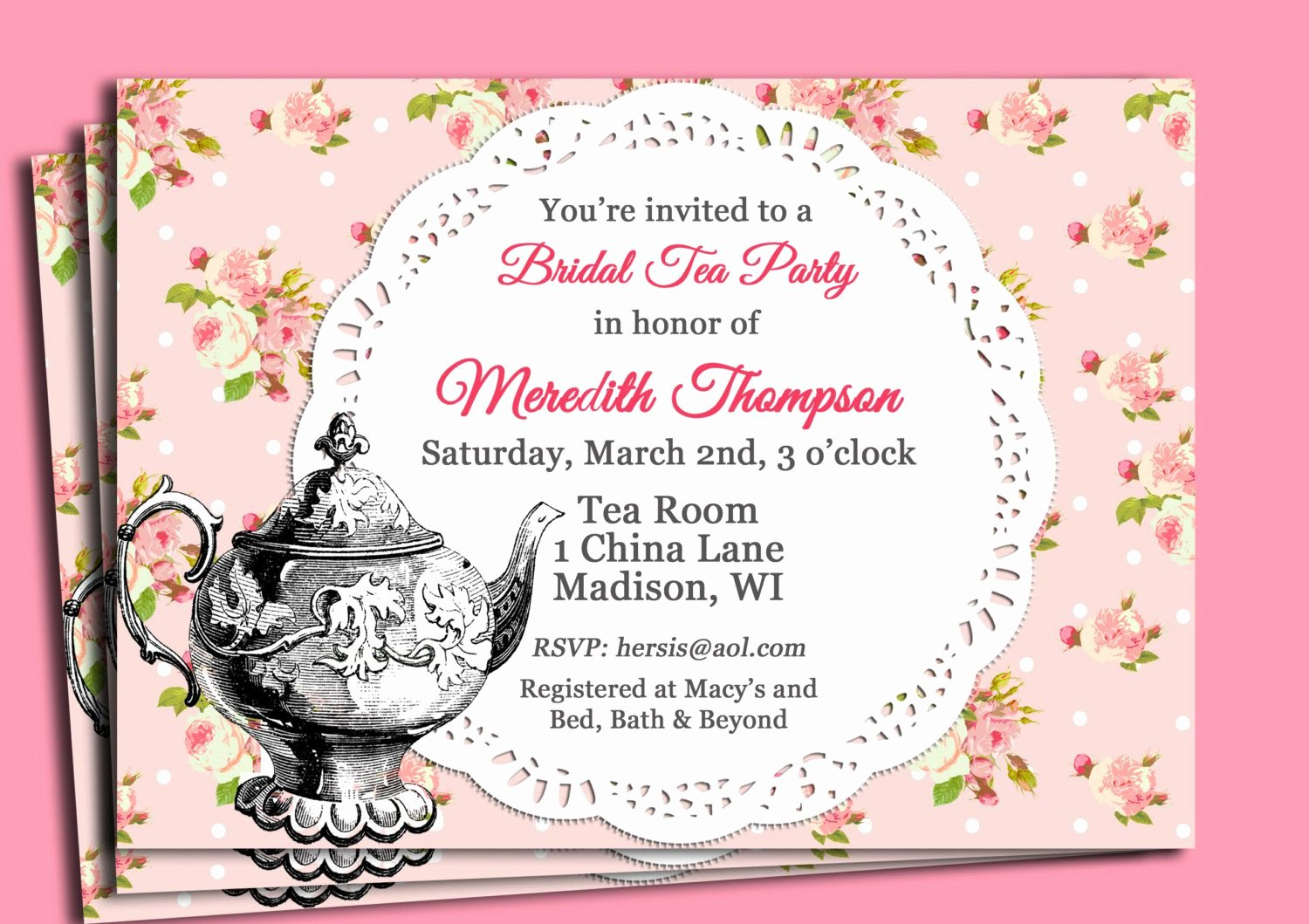 Bridal Shower Tea Party Invitations Free Printable
