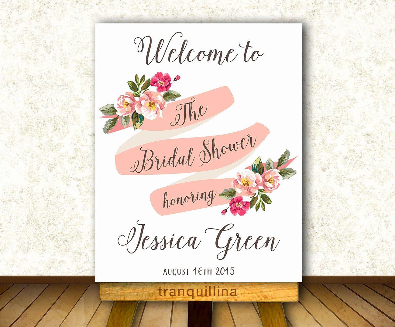 Bridal Shower Wel E Sign Printable Floral Wel E Sign