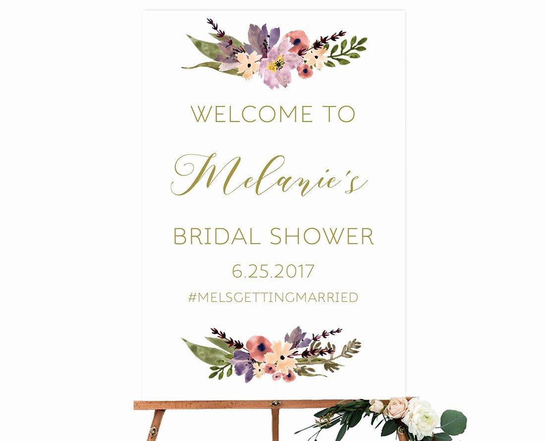 Bridal Shower Wel E Sign Template Template