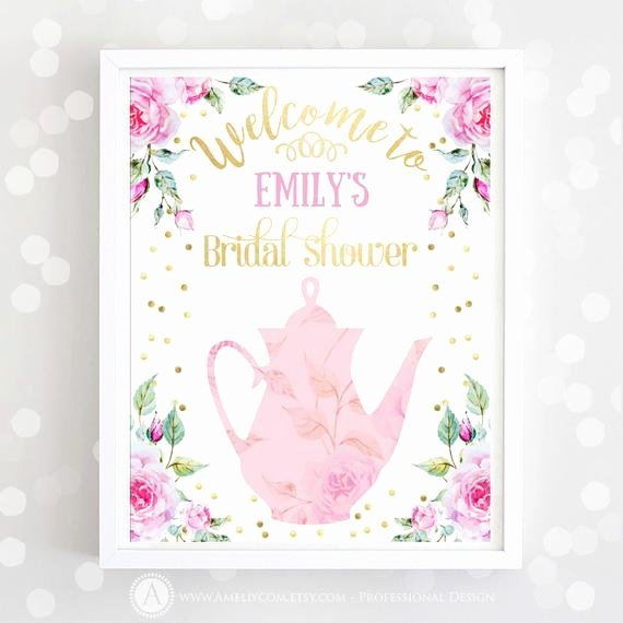 Bridal Wel E Sign Printable Pink Gold Bridal Shower Print